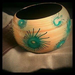 Blue Anemone Wood bangle bracelet